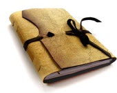 Crackled Leather Journal, Antique Vintage Style Medieval Journal, Cream and Black Travel Notebook