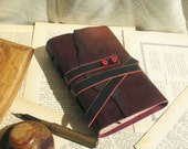 Burgundy Leather Journal, Gradient Leather, Medieval Style, Vintage Style Paper