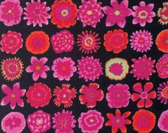 Kaffe Fassett for Rowan and Westminster Fibers - Button Flowers - Black - 1/2 Yard Cotton Quilt Fabric 516