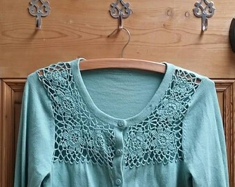 Womens clothing cardigans knitted sage green boho knitwear folk clothes floral lacy top ladies vintage crochet cardigan Dolly Topsy Etsy UK