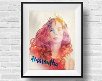 ACOMAF Amarantha Pop Art 8 x 10 Watercolor Print - A Court of Thorns and Roses Inspired ACOTAR Book Nerd Fandom Fan