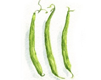 Watercolor Green Beans, Green Beans Print, Haricot Vert Print,Vegetable Print