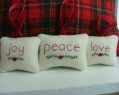 joy, peace, love - Embroidered Christmas Ornaments - Off-White Pendleton Wool