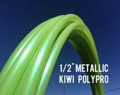 "Metallic Kiwi  1/2"" Polypro Dance & Exercise Hula Hoop COLLAPSIBLE push button - iridescent lime green"