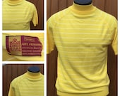 VINTAGE 1960s Yellow & White Striped TURTLENECK Short Sleeve Shirt