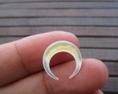 15 mm  Double Horn Crescent, boho , Hand Carved Mother of Pearl, NOT DRILLED S5638