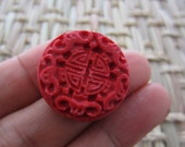Round Cinnabar Beads, 24mm Rich red  ,jewelry making supplies S6085