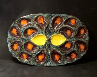 Large VALLAURIS  Oysters Barbotine Platter 1950s - Vibrant colors.French pottery .Ceramics