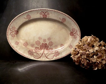 Antique  French pink transferware Serving Platter, oval Dish, made by KG Luneville France .Shabby chic . Romantic .