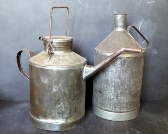 Industrial railway watering can and oil can .2 pieces for industrial decor or a garden decor.Industrial
