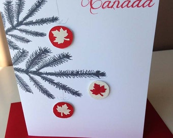 With love from Canada - maple leaf ornaments - pine tree - Christmas card