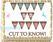Camouflage baby shower 2 cake topper Boy girl buck doe cake transfer edible image frosting icing decal sugar gender reveal