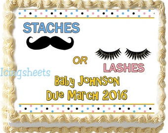 Staches or Lashes baby shower cake topper Boy girl cake transfer edible image frosting icing decal sugar gender reveal
