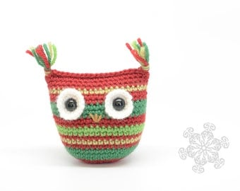 Crochet Owl, Red and Green, Natural Toy