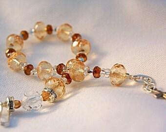 Rosary Bracelet Yellow Czech Glass & Sterling Silver
