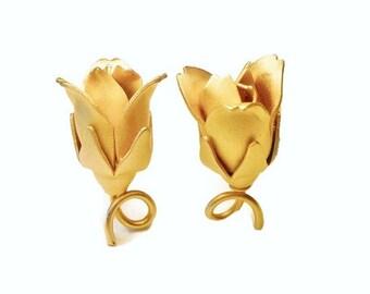 Rose bud clip earrings, satin finish gold plated rose earrings