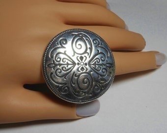 Interchangeable disc necklace ring: pendant made into a ring, silver plated, scroll work with heart design, over sized ring, adjustable