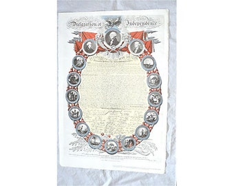 1776 Declaration of Independence Hand Colored and Numbered Gift to the American People from UK Bicentennial