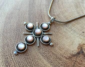 Sterling Silver Cross Necklace Navajo Signed Myra Qualo Pink Paua Shell