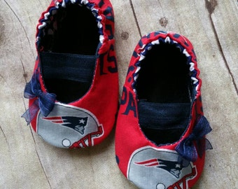 New England Patriots Baby Maryjane Booties