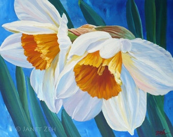 Daffodil Painting Original Flower Oil Painting on Canvas 16x20 Wall Art by Janet Zeh Original Art