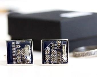 Circuit board Cufflinks - wedding cufflinks - silver plated, resin