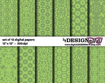 Digital Scrapbook Paper - Sage Green Floral Damask Collection (12x12) Wedding Bridal - Modern Flowers - Spring Easter - Baby Shower - Summer