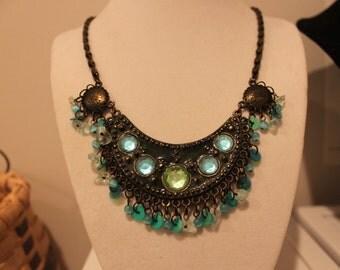 Fun 80's Blue/Green Tassel Necklace