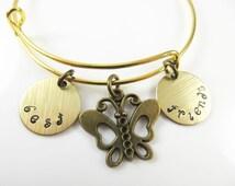 Hand stamped expandable - best friends - bracelet