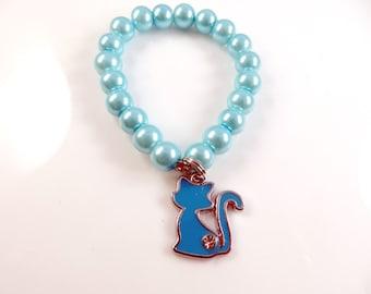 Little girls blue cat charm bracelet