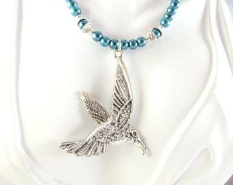 Teal hummingbird necklace