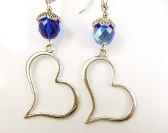 Large tilted heart earrings