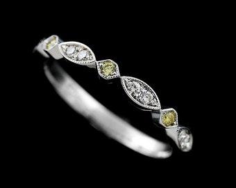 Octagon Marquise Wedding Ring, Not Treated Yellow Diamonds Wedding Band, Half Way Gold Band, Milgrain Geometrical Women's Wedding Ring 2.6mm