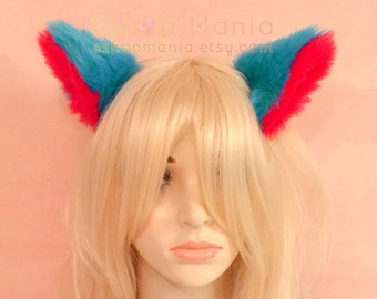 WHOLE cat ears fur hair clip /headband,9 cm Turquoise Blue inner Red,Kitty Wolf Cat Ear elf Hair Clip Cosplay Witch Costumes Party Halloween