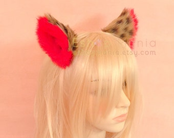 WHOLE cat ears fur hair clip/ headband,9 cm Leopard inner Red,Kitty Wolf Cat Ear elf Hair Clip Cosplay Witch Costumes Party Halloween