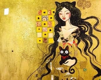 "Cat Girl - ORIGINAL 16""x20"" painting"