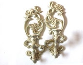 Homco Scrolled Floral Antique Gold Candle Sconces Pair of Hollywood Chic Embellished Decorative Wall Accents