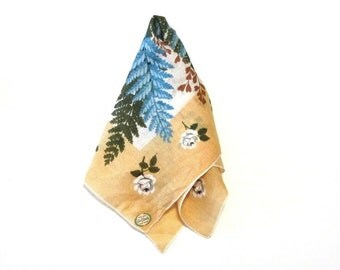 Carol Stanley Ferns and Roses Pure Linen Handkerchief Hand Rolled Blue Green and Brown Original Label