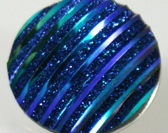 1 PC 18MM Resin Dark Blue Iridescent Silver Candy Snap Charm kb2239 CC0964