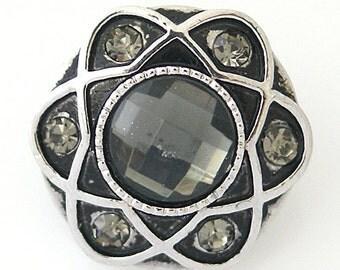 1 PC - 18MM Gray Rhinestone Silver Candy Snap Charm kb8800 CC1039