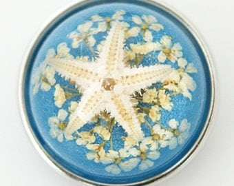 1 PC 18MM Blue Starfish Set in Glass Silver Candy Snap Charm kg6010 CC1127