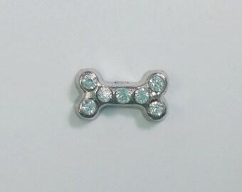 1 PC - Dog Bone Rhinestone Silver Charm for Floating Locket Jewelry F0371