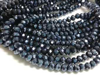 1 Bead Strand - 4x6mm Dark Blue Electroplated Rondelle Glass Crystal Beads BD0074