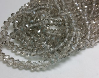 1 Bead Strand - 4x6mm Gray Rondelle Glass Crystal Beads BD0075