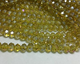 1 Bead Strand - 6x8mm Yellow Green Rondelle Glass Crystal Beads BD0105