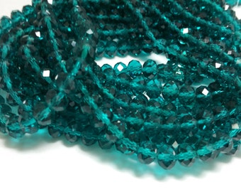 1 Bead Strand - 6x8mm Blue Green Rondelle Glass Crystal Beads BD0133