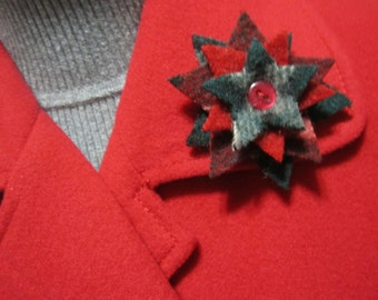 Wool brooches four layered star clusters pin backs three variations RTS