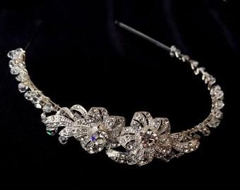 Bridal Headband, Freshwater Pearl and Rhinestone Bridal Headband, Crystal Wedding Headband, Wedding Bridal Hair Accessories