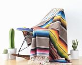 Antique Mexican Saltillo Serape Blanket - Large Beautiful Textile
