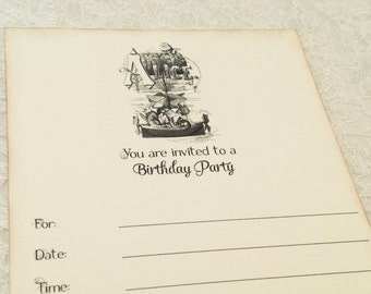 Alice in Wonderland Invitations-DIY Fill in invitations-Blank birthday party invites-Set of 10